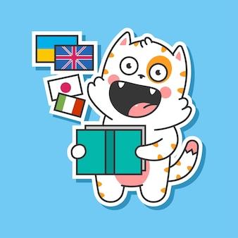 Simpatico gatto che impara le lingue di vettore del fumetto isolato su priorità bassa.