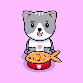Simpatico gatto piace mangiare pesce icona del fumetto illustrazione. stile cartone animato piatto