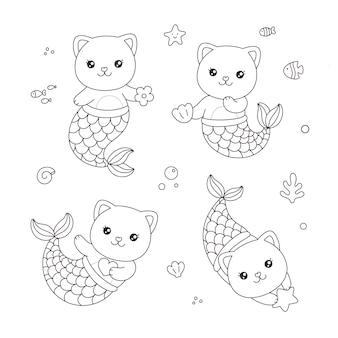 Simpatico gatto sirenetta cartone animato disegnato a mano tuffarsi sotto il mare pagina da colorare