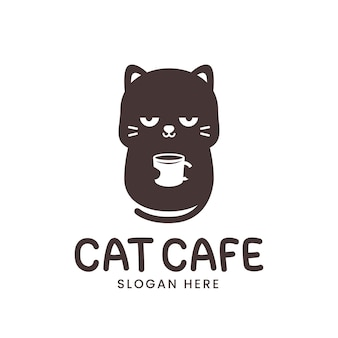 Logo simpatico gatto con tazza di caffè isolato su bianco