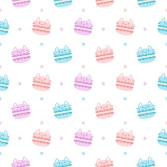 Carino gatto macaron dessert sfondo senza soluzione di continuità motivo ripetuto, sfondo per il desktop, sfondo carino modello senza soluzione di continuità