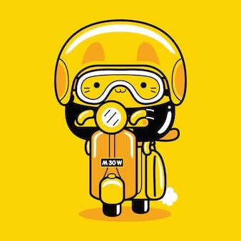Simpatico personaggio mascotte gatto che guida scooter in stile cartone animato piatto