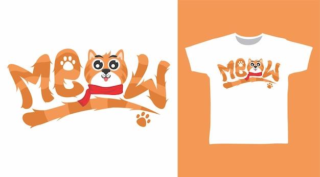 Simpatico gatto miagolio tipografia tshirt design