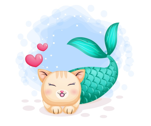 Sirena di gatto carino con due personaggi dei cartoni animati di amore
