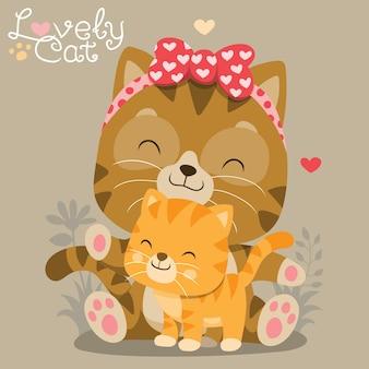 Illustrazione sveglia della mamma e del bambino del gatto
