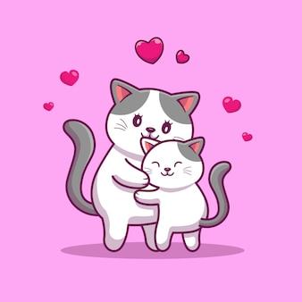Cat mother with baby cat cartoon icon illustration sveglia. icona animale concetto isolato. stile cartone animato piatto Vettore Premium