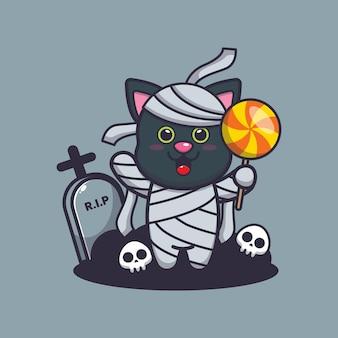 Simpatica mummia di gatto che tiene caramelle simpatica illustrazione di cartone animato di halloween