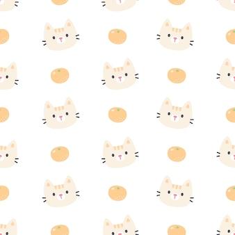 Simpatico gatto e arancio seamless pattern