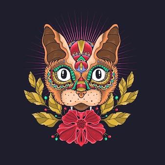 Vettore ornamentale dell'illustrazione del gatto sveglio Vettore Premium