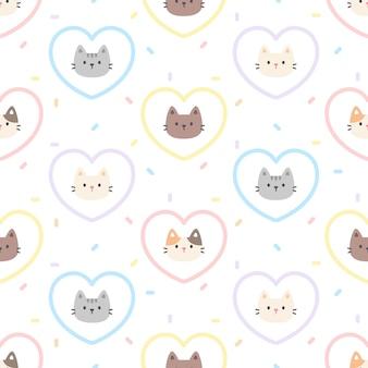 Modello senza cuciture cuore pastello carino gatto