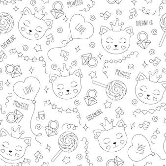 Modello di gatto carino su sfondo bianco. modello senza cuciture di contorno astratto bianco e nero. disegno per vestiti, t-shirt, tessuti o confezioni per bambini. coniglietto, palloncino, nota, perline, stella, anello.