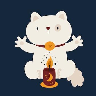 Illustrazione piana di vettore dell'animale domestico dell'animale domestico sveglio del gatto
