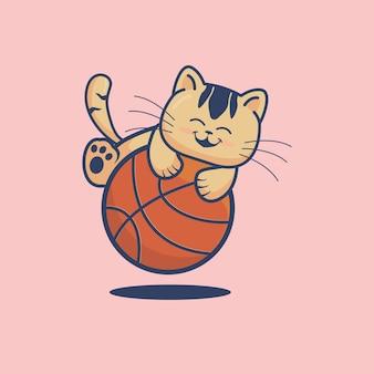 Simpatico gatto che gioca a pallacanestro fumetto illustrazione