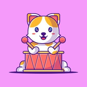 Simpatico gatto che suona l'illustrazione vettoriale del fumetto del tamburo. concetto di stile del fumetto piatto animale