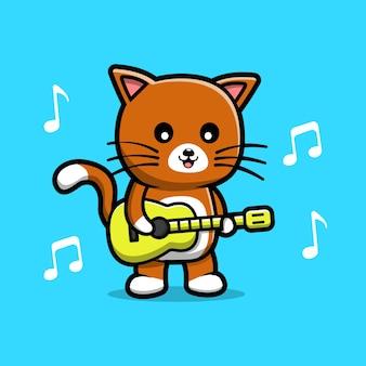 Simpatico gatto che suona la chitarra fumetto illustrazione