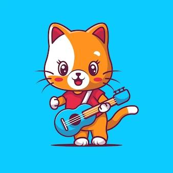 Gatto sveglio che gioca illustrazione della chitarra Vettore Premium
