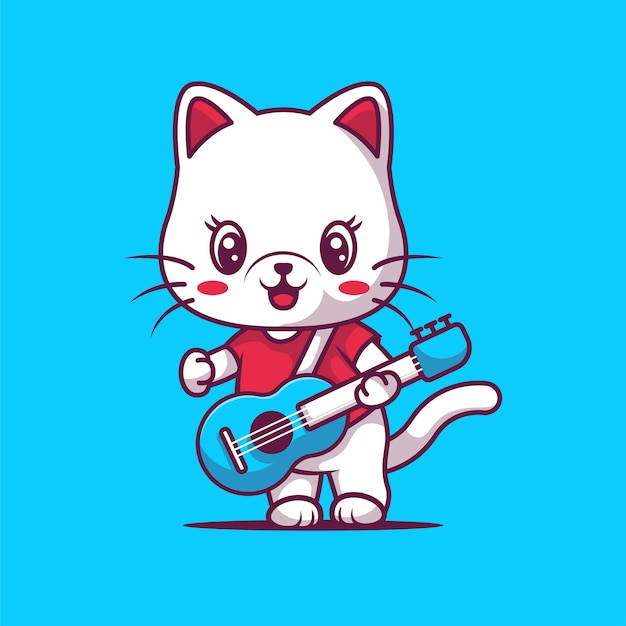 Gatto sveglio che gioca illustrazione della chitarra