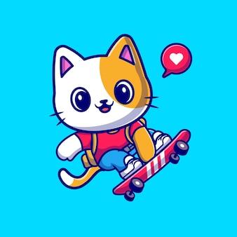 Gatto sveglio che gioca l'icona di vettore del fumetto dello skateboard. concetto di icona di sport animale isolato vettore premium. stile cartone animato piatto
