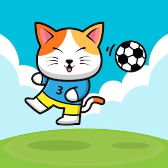 Simpatico gatto che gioca a pallone da calcio fumetto illustrazione