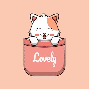 Simpatico gatto in tasca fumetto illustrazione