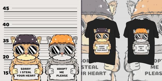 Simpatica maglietta da prigioniero gatto