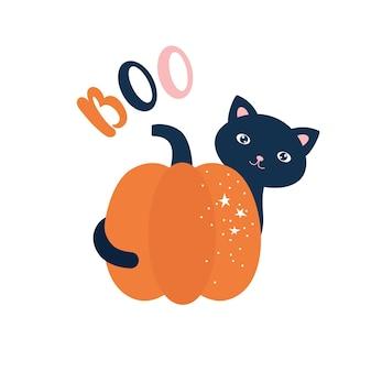 Simpatico gatto dietro l'illustrazione di halloween della zucca