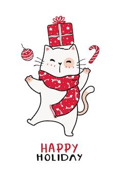 Simpatico gatto in sciarpa lavorata a maglia rossa natale e scatola presente, stagione felice, biglietto di auguri