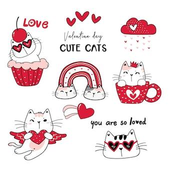 Accumulazione sveglia del fumetto di giorno di san valentino rosso del gatto, san valentino