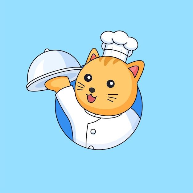 Cuoco unico del ristorante del gatto sveglio che tiene l'illustrazione coperta di vettore del fumetto della mascotte animale del vassoio dell'alimento
