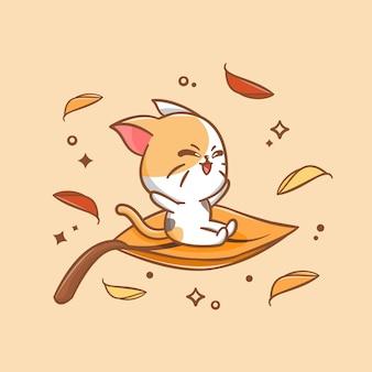 Simpatico gatto che libera una foglia nell'illustrazione autunnale del fumetto