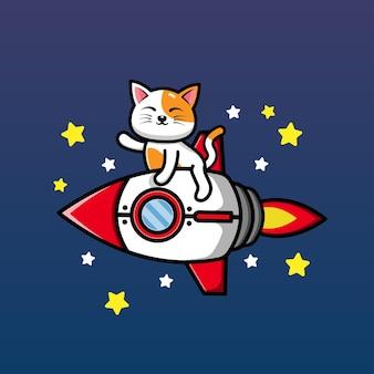 Simpatico gatto a cavallo di un razzo e agitando la mano fumetto illustrazione