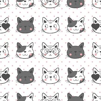 Fondo senza cuciture del simpatico gatto, design del modello senza cuciture del simpatico gatto