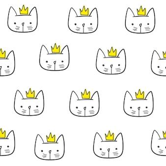 Reticolo senza giunte del gatto sveglio. per la stampa, vestiti per bambini, t-shirt, bambini, carta da imballaggio, carta da parati. vettore eps10