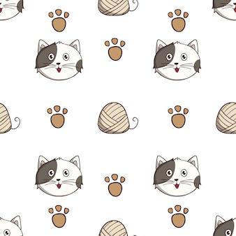 Modello senza cuciture gatto carino con stile doodle colorato su sfondo bianco