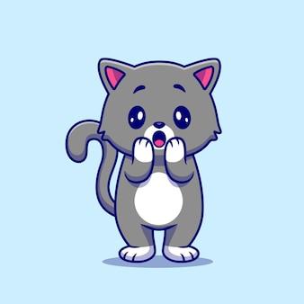 Cute cat shock illustration