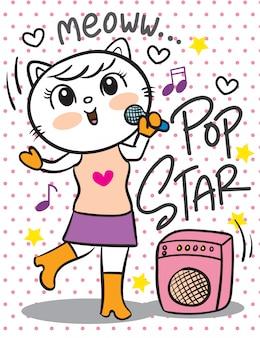 Cartone animato cantante gatto carino