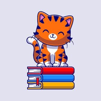 Gatto sveglio che si siede sull'icona di vettore del fumetto del libro. concetto di icona di educazione animale isolato vettore premium. stile cartone animato piatto