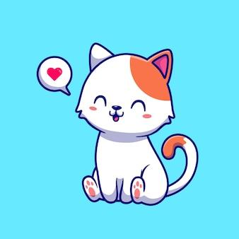 Simpatico gatto seduto fumetto illustrazione