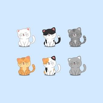 Simpatico gatto seduto e sorridente collezione di cartoni animati