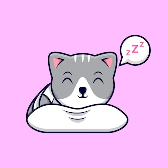 Illustrazione dell'icona del fumetto di sonno del gatto sveglio. stile cartone animato piatto