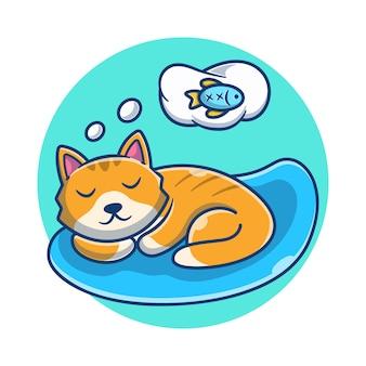Simpatico gatto dorme e sogna fumetto di pesce. concetto del fumetto dell'icona del gatto. illustrazione degli animali. stile cartone animato piatto