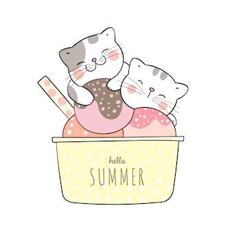Simpatico gatto che dorme in coppa gelato per l'estate.