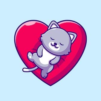 Gatto sveglio che dorme sul fumetto del cuscino di amore. stile cartone animato piatto