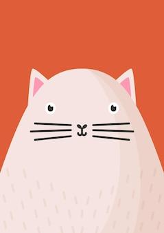 Illustrazione piana del muso del gatto sveglio.