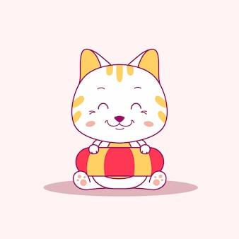 Simpatico gatto nell'illustrazione vettoriale dell'ora legale