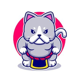 Illustrazione sveglia dell'icona del fumetto di sumo del gatto.