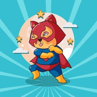 Illustrazione sveglia del fumetto dell'eroe eccellente del gatto. cartone animato piatto isolato concetto di eroe animale