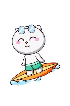 Simpatico gatto che fa surf in mare in estate fumetto illustrazione cartoon