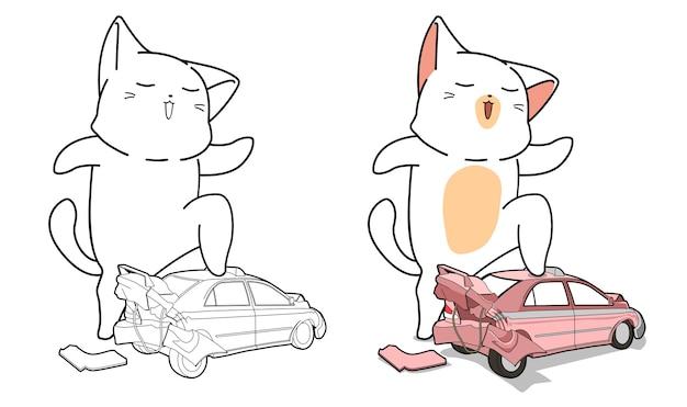 Pagina da colorare di cartoni animati carino gatto e macchinina per bambini