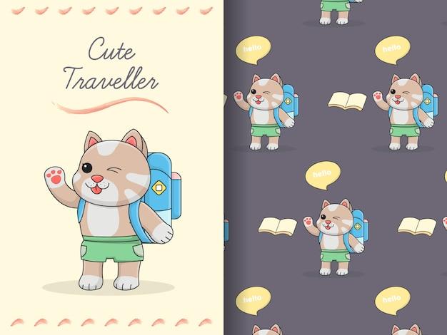 Modello e carta senza cuciture del pacchetto viaggiatore sveglio del gatto